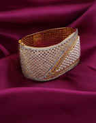 Gold Finish Bracelets Studded With Diamond And Pearls Beads Bracelets