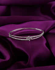 Silver Finish Simple Diamond Bracelets
