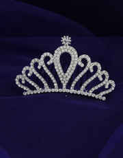 Very Classy Designer Silver Finish Simple Fancy Crown