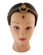 Floral Design Gold Finish Borla Matha Patti Styled With Beads Tikka Fancy