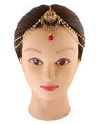 Red Colour Gold Finish Traditional Matha Patti Accessories