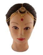 Designer Fancy Gold Finish Traditional Moti Styled Hair Matha Patti