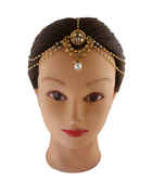 Adorable Gold Finish Matha Patti Studded With Stones Hair Accessories