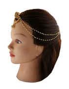Traditonal Gold Finish Matha Patti Studded With Stones Hair Jewellery
