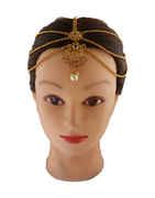 Antique Gold Finish Floral Design Matha Patti Hair Accessories