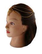 Gold Finish Layered Hair Matha Patti For Wedding