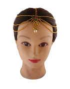 Multi Colour Gold Finish Designer Matha Patti Hair Jewellery