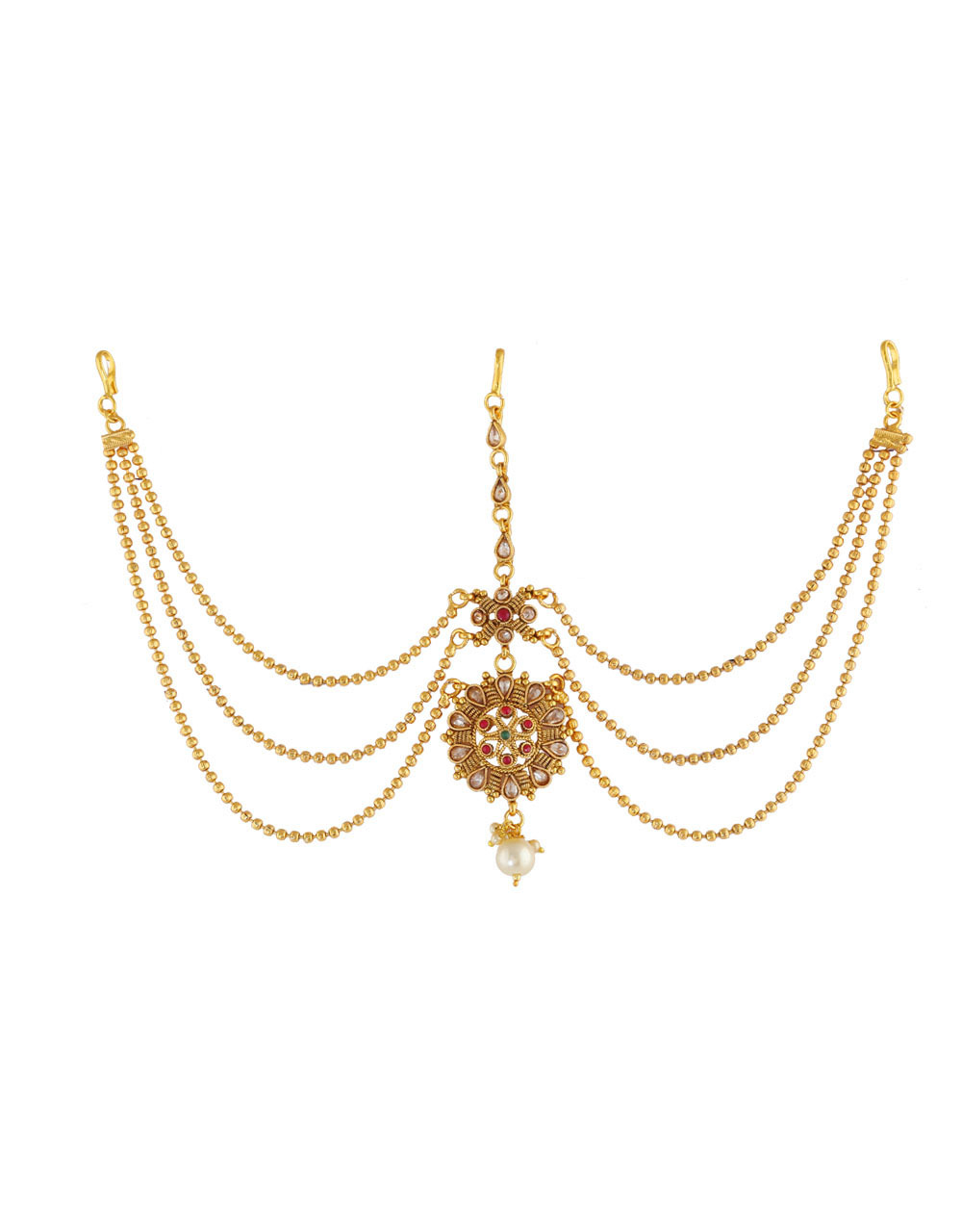 Gold Finish Floral Design Matha Patti For Women