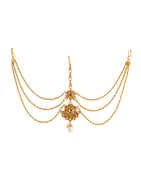 Gold Finish Red Colour Floral Design Matha Patti Hair Jewellery