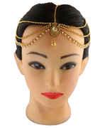 Gold Finish Droplet Shape Designer Hair Matha Patti
