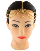 Antique Gold Finish Forehead Jewellery Styled With Beads Matha Patti