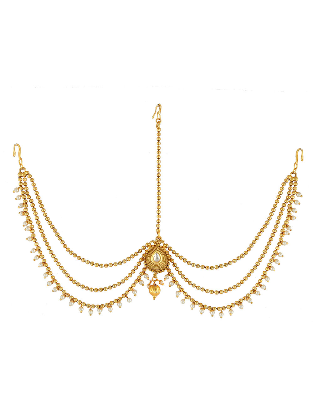 Traditional Forehead Jewellery Styled With Pearls Beads Matha Patti