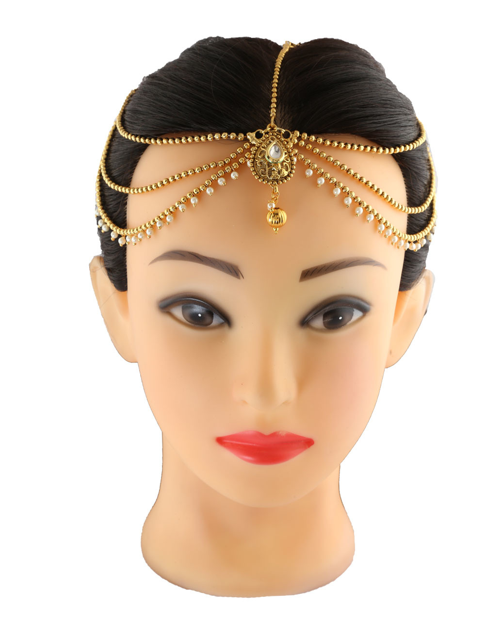 Gold Finish Matha Patti Styled With Pearls Hair Forehead Jewellery