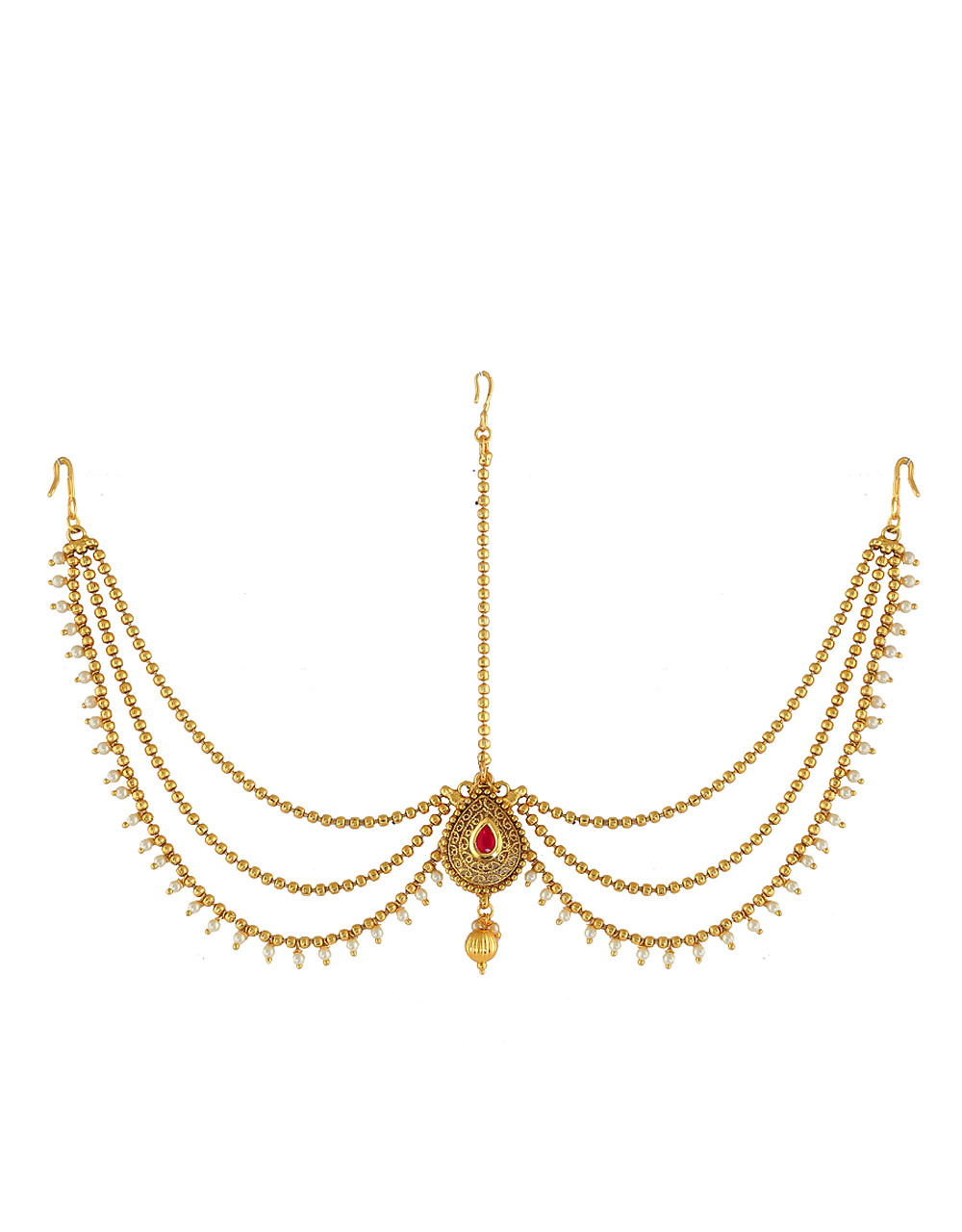 Red Colour Gold Finish Beads Styled Hair Forehead Jewellery