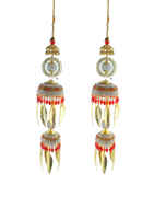 Simple Red Colour Gold Finish Fancy Kalire