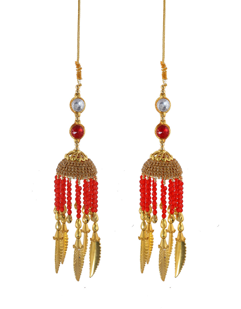Red Colour Designer Beads Styled Hand Kalire