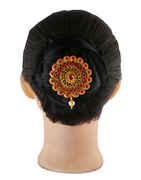 Floral Design Matte Gold Finish Pink Colour Hair Brooch