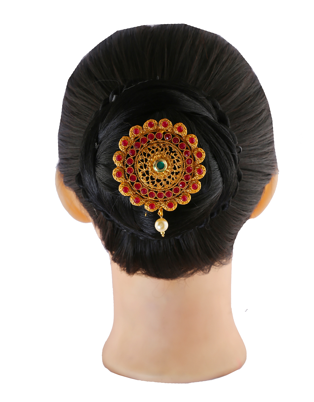 Traditonal Hair Brooch Studded With Stones Hair Pin