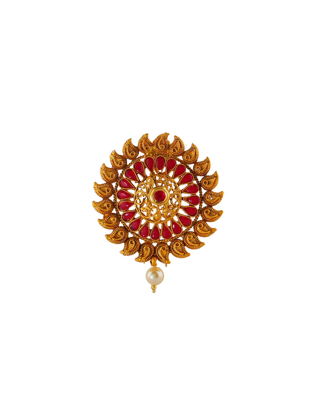 Floral Design Pink Colour Hair Brooch Pin