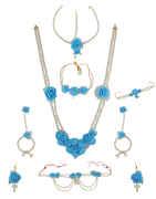 Turquiose Colour Moti Necklace For Haldi