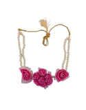 Designer Baby-Pink Colour Styled With Moti Haldi Jewellery