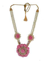 Gold Finish Necklace Studded With Stones Handmade Flower Jewellery