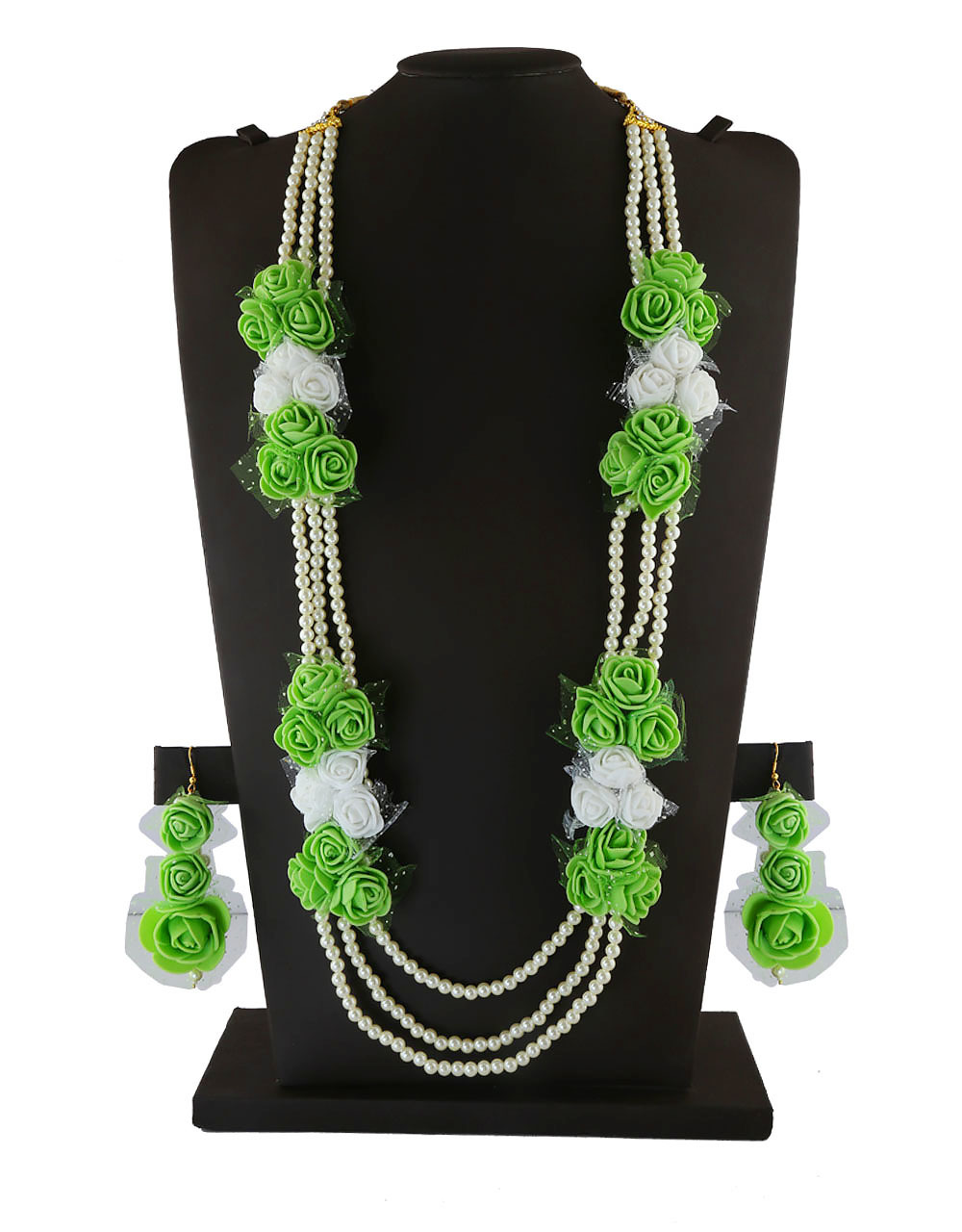Green Colour Flower Necklace Styled With Pearls Baby Shower Jewellery
