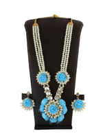 Turquoise Colour Simple Mehandi Artificial Flower Jewellery