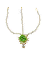 Green Colour Designer Flower Jewellery Styled With Pearls Beads Necklace