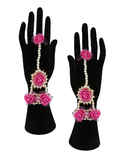 Pink Colour Necklace Styled With Beads Haldi Jewellery