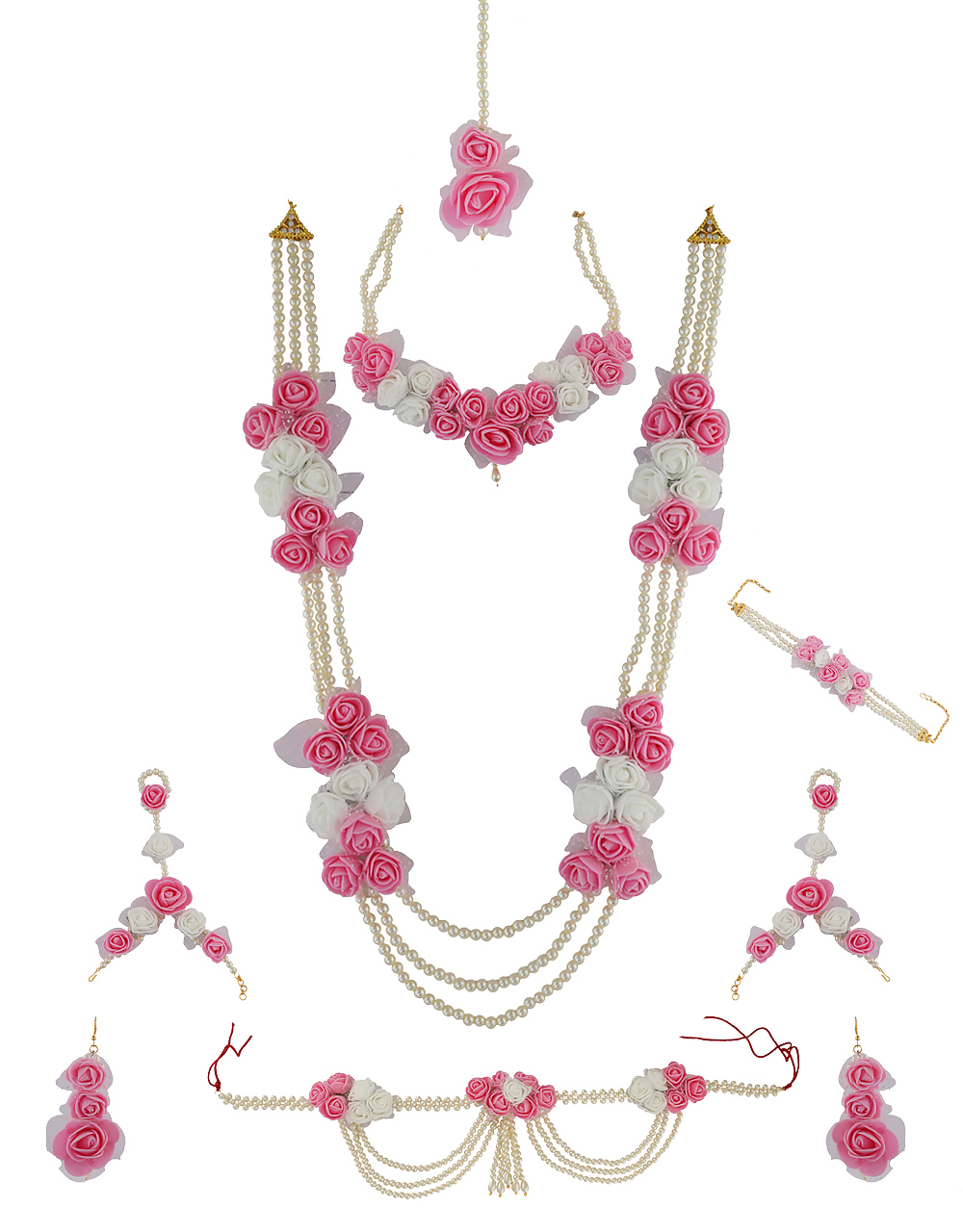 Buy Baby Pink Colour Baby Shower Flower Jewellery Online