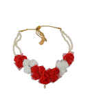Red Colour Floral Moti Necklace Flower Jewellery For Wedding