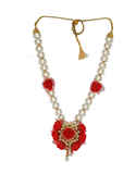 Simple Gold Finish Necklace Styled With Pearls Haldi Jewellery