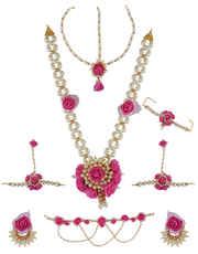 Pink Colour Flower Jewellery For Haldi Ceremony Jewellery