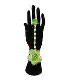 Adorable Green Colour Flower Jewellery For Haldi Ceremony