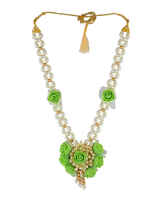 Adorable Green Colour Flower Jewellery For Haldi Ceremony