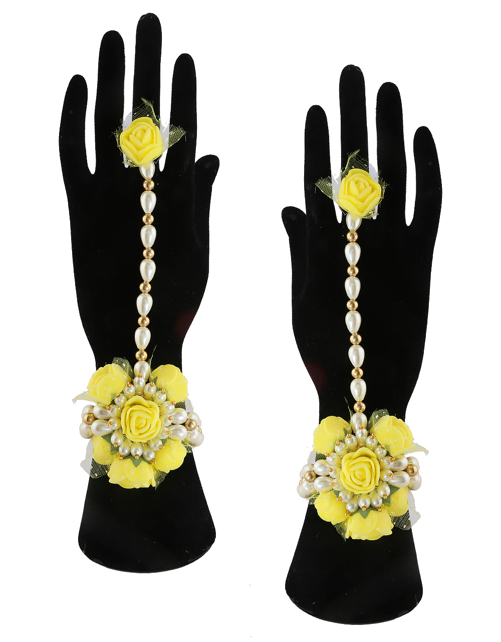 Fancy Yellow Colour Floral Jewellery For Godhbharai