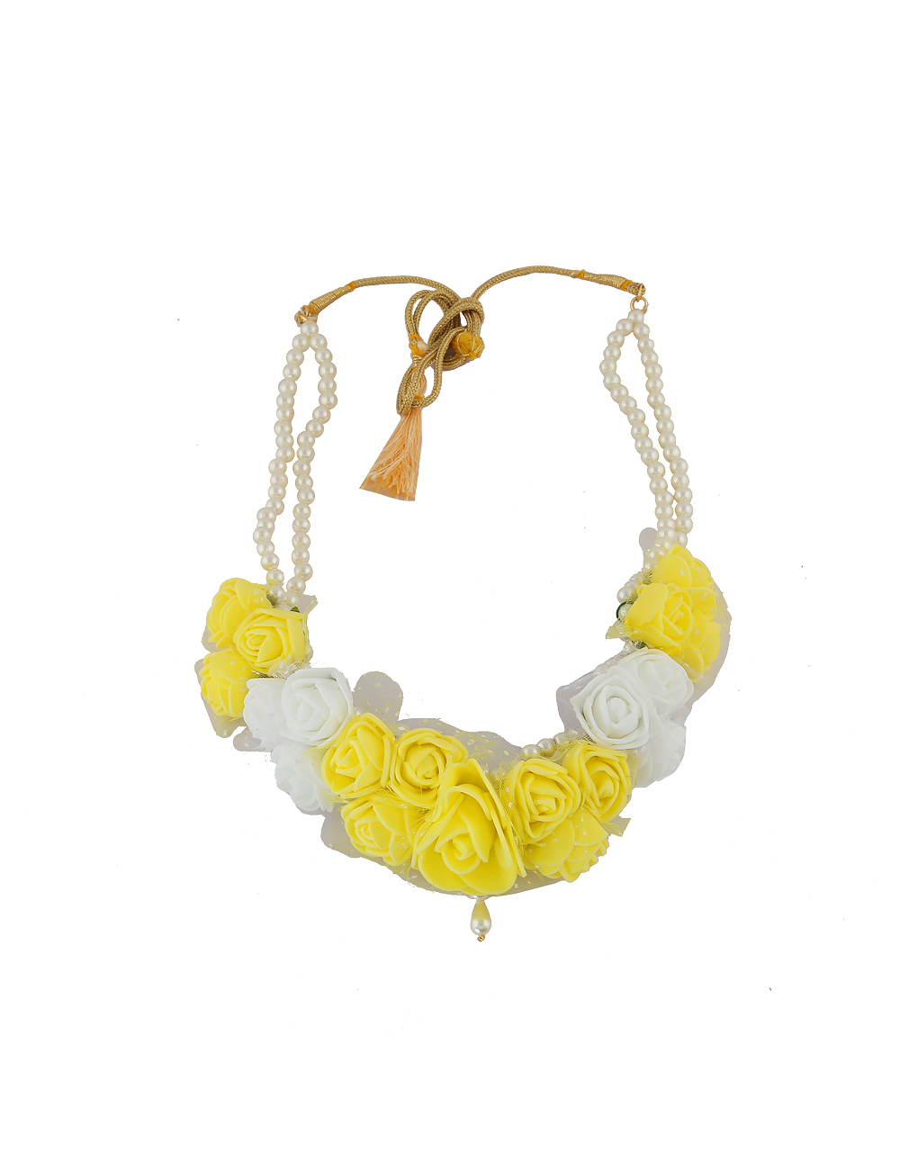 Yellow Colour Floral Jewellery Necklace For Haldi