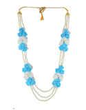 Blue Colour Fancy Floral Jewellery Set For Godhbharai
