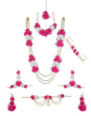 Rani Colour Fancy Moti Necklace For Mehandi