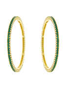 Gold Finish Green Colour Bangles Set For Wedding