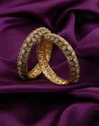 Antique Gold Finish Stylish Diamond Bangles