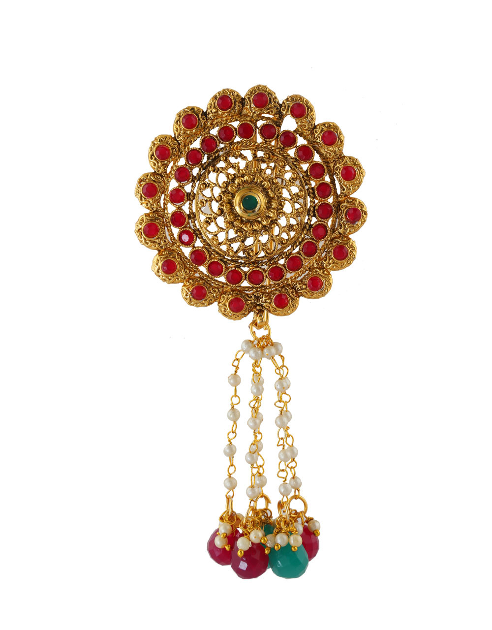 Red Colour Gold Finish Hair Pin Accessories