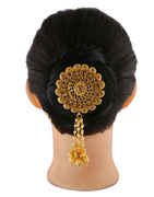 Floral Design Gold Finish Moti Styled Hair Pin