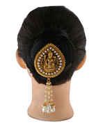 Temple Design Matte Gold Finish Hair Brooch Fancy