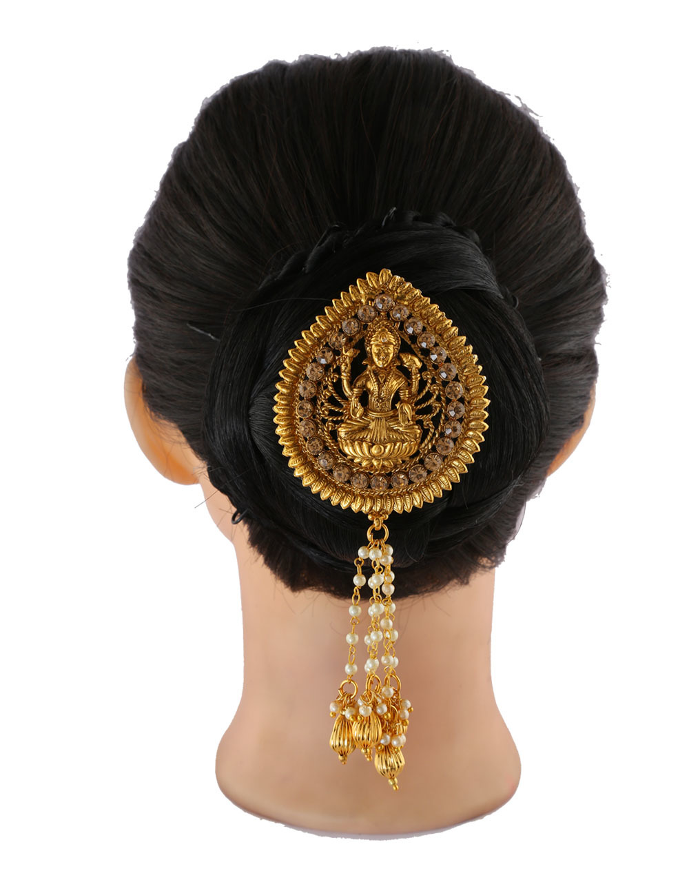 Gold Finish Temple Design Hair Brooch Pin