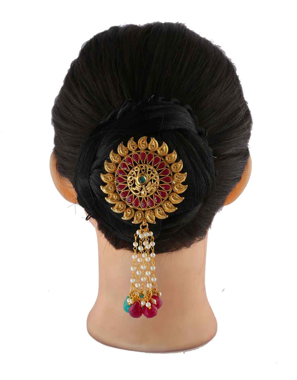 Multi Colour Gold Finish Traditional Hair Brooch