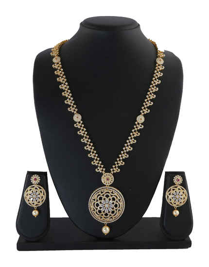 Gold Finish Necklace Studded With Diamond Party Wear Long Necklace