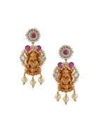 Pink Colour Gold Finish Temple Design Fancy Long Necklace