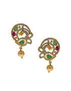 Peacock Design Gold Finish Simple Diamond Necklace